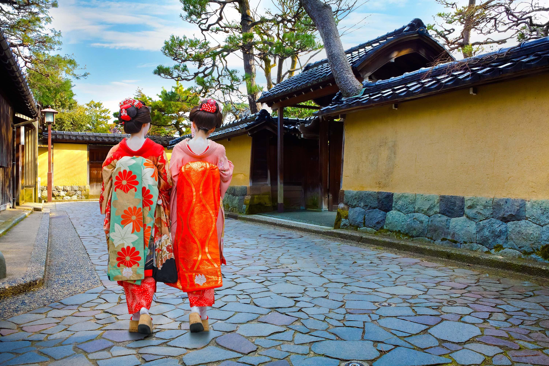 Kanazawa, Japan - November 22 2015: Unidentified Japanese Geisha at Nagamachi samurai street in Kanazawa